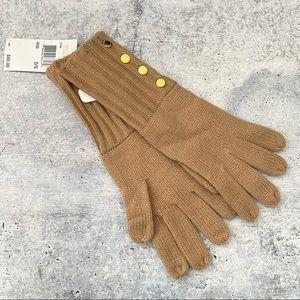 Michael Kors Tan Long Knit Gold Toned Button Gloves Size L